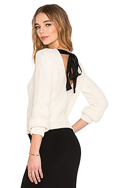 Red Valentino Long Sleeve Open Back Sweater in Latte