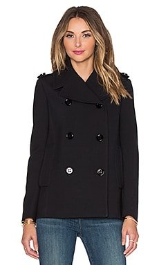 Red Valentino Double Breasted Peacoat in Nero
