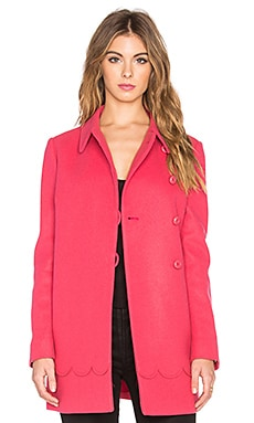 Red Valentino Scalloped A-Line Coat in Fuchsia