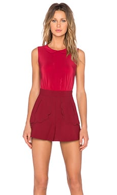 Red Valentino Scallop Playsuit in Burgundy