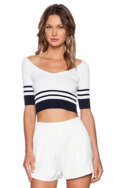 Red Valentino Ribbed Crop Top in Navy & White