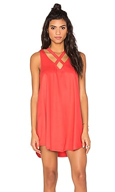 RVCA Visions V Neck Mini Dress in Spiced Coral