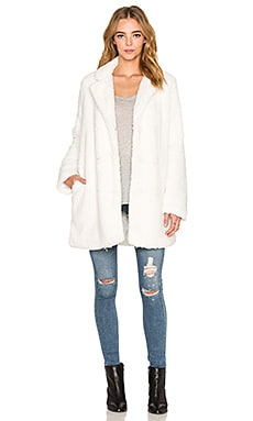 RVCA Warm me up Faux Fur Coat in Vintage White