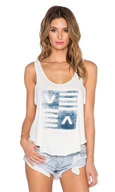 RVCA Check Stripe Tank in Vintage White