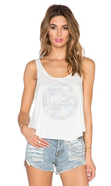 RVCA Tropic Motors Drape Tank in Vintage White