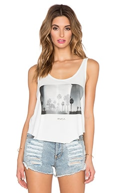 RVCA Coastal Palms Drape Tank in Vintage White