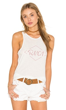 RVCA Notebook Script Tank in Vintage White
