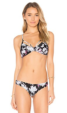 Floral Fuzz Bikini Top in Black