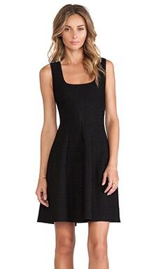 RVN Reptile Texture Jacquard Flare Dress in Black & Black