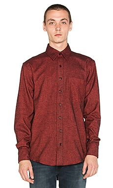 Raised by Wolves Shetland Button Down in Red Herringbone