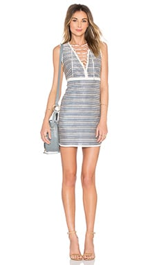 Amalia Lace Up Dress in Blue Stripe
