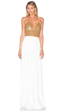 Emerson Maxi Dress in Gold & Ecru