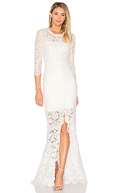 All Over Lace Gown in White