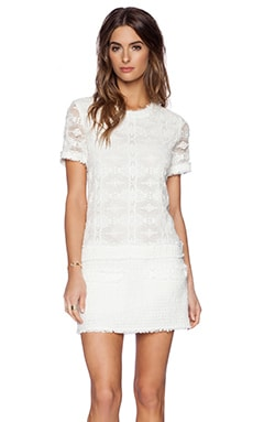 RACHEL ZOE Ginger Drop Waist Dress in White & Optic White