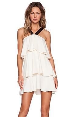 RACHEL ZOE Vivre Tiered Halter Dress in Ivory & Black