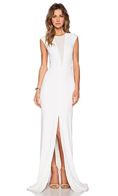 RACHEL ZOE Amara Sheer Inset Maxi Dress in Pure White