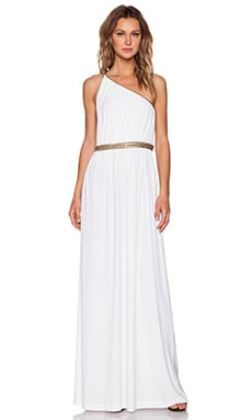 RACHEL ZOE Lillith Shirred Toga Maxi Dress in White