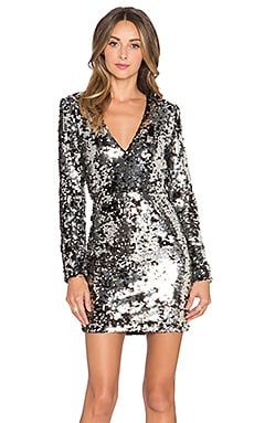 RACHEL ZOE Muse V Neck Dress in Silver & Black