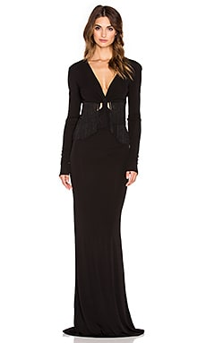 RACHEL ZOE Wanda Fringe Gown in Black