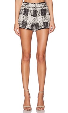 RACHEL ZOE Leo Fringe Short in Ivoire & Black
