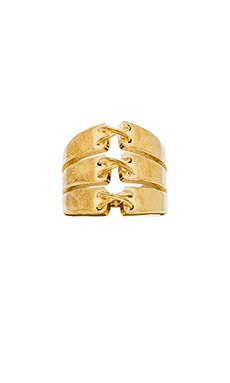 RACHEL ZOE Stitches Stacked Ring in Gold