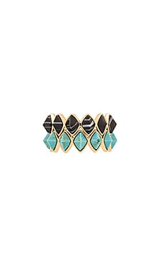 RACHEL ZOE Prestley Pyramid Ring Set in Gold, Black, & Turquoise