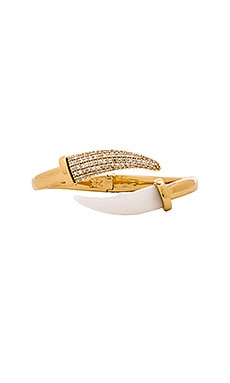 RACHEL ZOE Hale Horn Hinge Cuff in Gold & White