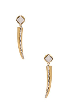 RACHEL ZOE Stell Pave Horn Pave Earrings in Gold & White