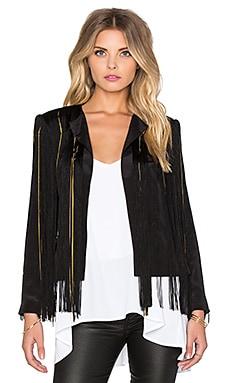 RACHEL ZOE Viveca Fringe Jacket in Black & Gold
