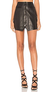 Danae Leather Skirt in Black