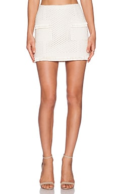 RACHEL ZOE Miele Front Pocket Mini Skirt in Ivoire