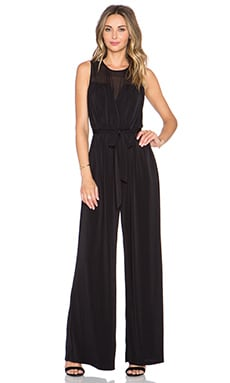 RACHEL ZOE Dov Sheer Neck Jumpsuit in Black