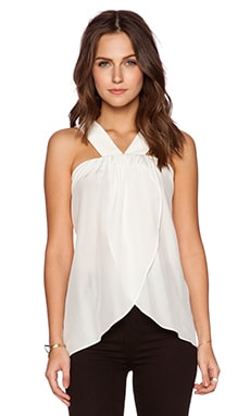 RACHEL ZOE Reev Cascade Top in Pure White