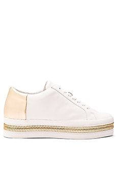 RACHEL ZOE Collette Sneaker in White & Gold