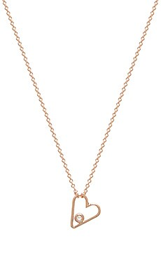 Sachi Diamond Outline Heart Necklace in Rose Gold