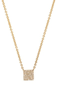 Sachi Mini Pave Square Necklace in Yellow Gold