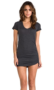 Saint Grace Rayon Jersey V Neck with Shirring Dress in Black