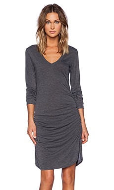 Nadya Long Sleeve V Neck Dress in Black
