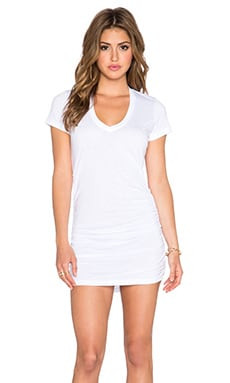Saint Grace Cap Sleeve Shirred Dress in White