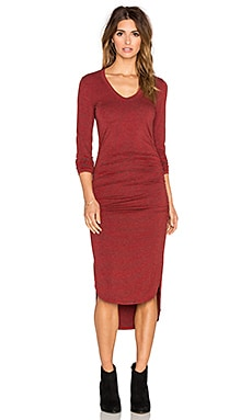 Saint Grace Amelie Shirred Dress in Crimson
