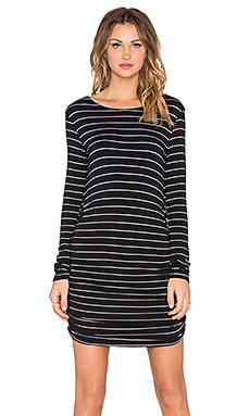 Saint Grace Long Sleeve Shirred Mini Dress in Black & White