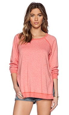 Saint Grace Raglan Crew Sweatshirt in Coral