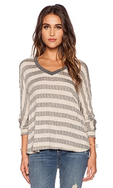 Saint Grace Compass Loom Stripe Oversized Top in Charcoal