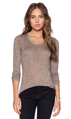 Saint Grace Long Sleeve Scoop Neck Tee in Stone