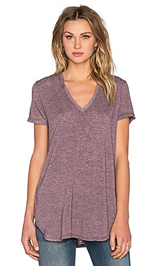 Saint Grace Lax Oversized V Neck Tee in Merlot