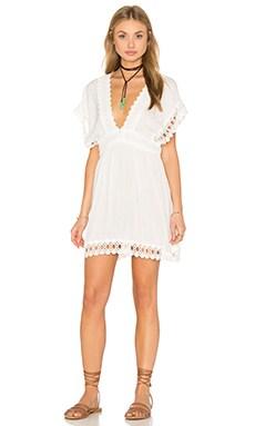 Salinas Sleeveless V Neck Mini Dress in White Lisos