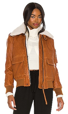 Fur Amelia Leather Bomber Jacket SAM. $1,595