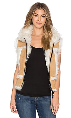 SAM. Stevie Lamb Fur Vest in Camel