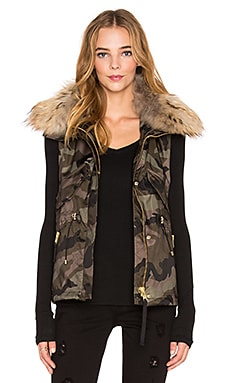 SAM. Camo Dakota Asiatic Raccoon Fur Vest in Olive Camo