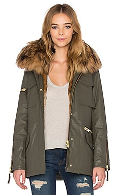 SAM. Rabbit & Asiatic Raccoon Fur Kate Jacket in Army